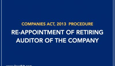 Procedure for Re-Appointment of Retiring Auditor of the Company